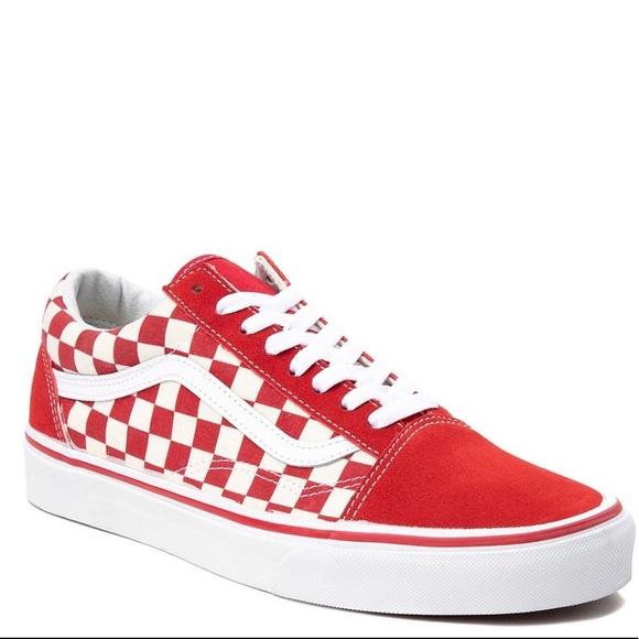Red White Checkerboard Old Skool Vans
